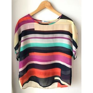 Colourful Stripped Sheer Blouse XXL
